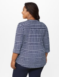 Roz & Ali Navy Plaid Pintuck Knit Popover - Plus - Navy-White - Back