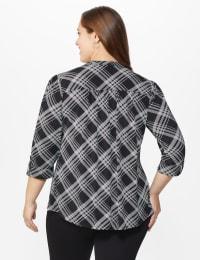 Roz & Ali Bias Plaid Pintuck Knit Popover - Black-White - Back