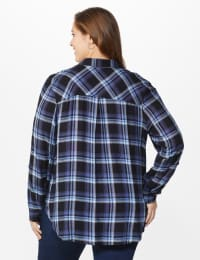 "Denim Friendly Plaid ""To Tie Or Not To Tie"" Shirt  - Plus - Blue - Back"