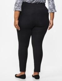 Ponte Pull on Legging with Seam Detail - Plus - Black - Back
