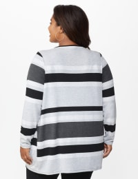DB Sunday Hacci Sweater Knit Stripe Cardigan - Plus - Multi - Back