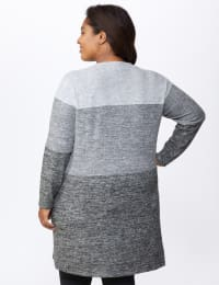 Hacci Sweater Knit Color Block Duster Cardigan - Plus - Grey - Back