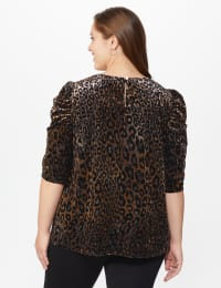 Roz & Ali  Puff Sleeve Velvet Burnout Knit Top - Plus - Neutral - Back