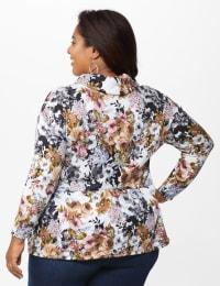 Floral Sweater Knit Hacci Flounce Hem Top - Plus - Taupe/Grey - Back