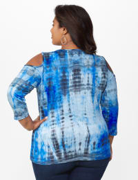 Tie Dye X Front Cold Shoulder - Plus - Blue - Back