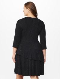 Glitter Knit Tiered Dress - Plus - Black - Back