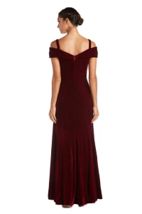 Long Stretch Velvet Off the Shoulder Gown - Petite - Burgundy - Back