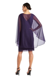 Short Empire Sweetheart Neck Dress with Sheer Cape - Petite - Iris - Back