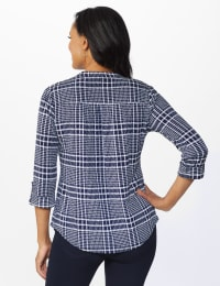 Roz & Ali Navy Plaid Pintuck Knit Popover - Misses - NAVY-WHITE - Back