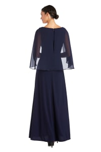 Long Matte Chiffon Dress - Petite - Navy - Back