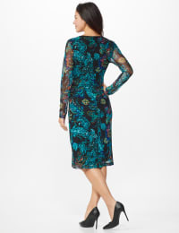 Mesh Paisley Rushed Dress - Teal - Back