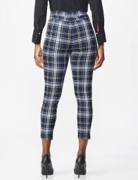 High Rise Plaid Pull On  Jean Style Ankle Pant - Misses - Black/UltraMarine - Back