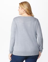 Pre-Order Roz & Ali Sparkle Pullover Sweater - Plus - Heather Grey - Back