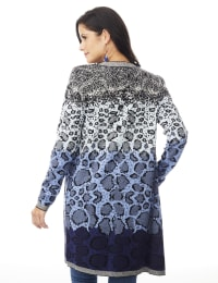 Roz & Ali Ombre Animal Duster Sweater - Misses - Blue Combo - Back