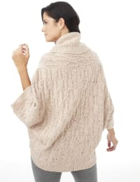 Westport Novelty Yarn Poncho Sweater - Misses - Pale Khaki - Back