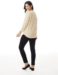 Westport Novelty Yarn Curved Hem Sweater - Misses - Bambi - Back