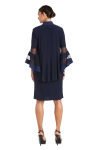 Two-Piece Necklace Sheath Dress & Jacket - Navy - Back