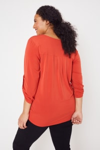 Roz & Ali Zip Front Knit Top - Plus - Sunset Red - Back