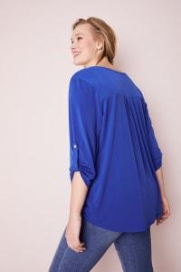 Roz & Ali Zip Front Knit Top - Plus - Blue Ensign - Back