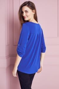 Roz & Ali Zip Front Knit Top - Blue Ensign - Back