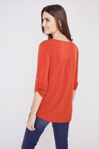 Roz & Ali Zip Front Knit Top - Sunset Red - Back