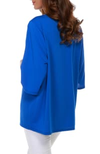 3/4 Sleeve Grommet Trimmed Cardigan - Misses - Cerulean Blue/Gold - Back