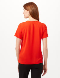 Pintuck Crepe Blouse - Cherry - Back