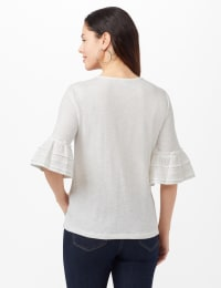 Ruffle Sleeve V-Neck Texture Knit Top - Sugar Swizzle - Back