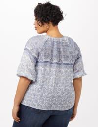 Placed Print Peasant Top - Denim Blue - Back