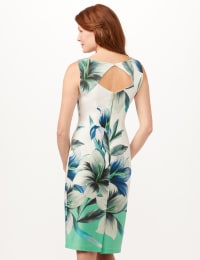 Placed Lily Scuba Sheath Dress - White/Blue/Green - Back