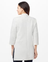 Quilted Jacquard Topper - White - Back