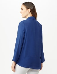 Roll Tab Textured Tunic Shirt - Blue Coast - Back