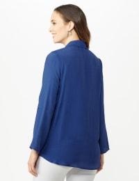 Roll Tab Textured Tunic Shirt - Blue Coast - Back