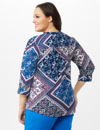 Patchwork Pintuck Popover - Blue - Back