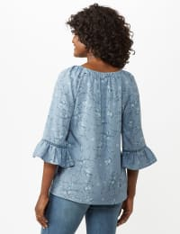 Flare Sleeve Smock Neck Vine Floral Top - Misses - Blue - Back