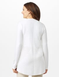 Long Sleeve Mitered Stitch Cardigan - White - Back