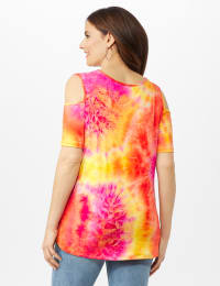 Tie Dye Cold Shoulder Knit Top - Misses - Pink - Back