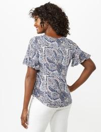 Flutter Sleeve Tie Bottom Knit Top - Blue - Back