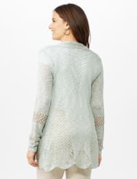Scallop Trim Textured Cardigan - Frost - Back