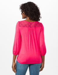 Crochet Trim Tie Front Knit Top - Maui Rose - Back