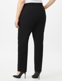 Roz & Ali Secret Agent Pull On Tummy Control Pants with Pockets - Short Length - Black - Back