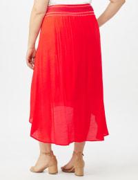 Textured Pull on Hi Lo Hem Skirt - Back