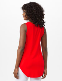 Hi Lo Hem Tank - Red Orange - Back