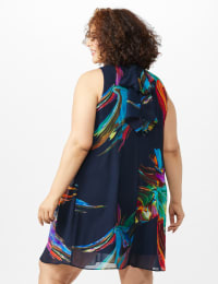 Sleeveless Chiffon Brush Stroke Mock Neck Dress - Navy Multi - Back