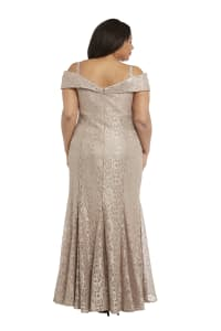 Off the Shoulder Glitter Lace Gown Godet Pleats at Hem - Plus - Champagne - Back