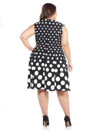 Cap Sleeve Graduated Dot Dress - Black/White - Back