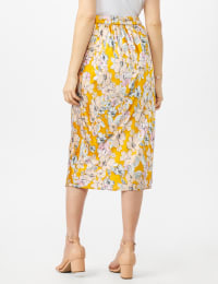 Floral Printed Slip Skirt - Gold - Back