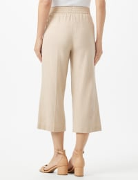 Elastic Waist Crop With Button Detail On Leg - Back