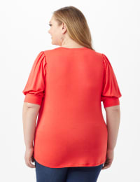 Scoop Puff Sleeve Knit Top - Coral - Back