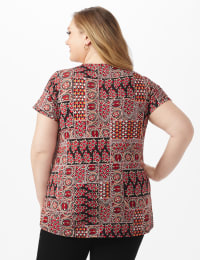 Patchwork Ruched Tie Front Top - Plus - Black - Back